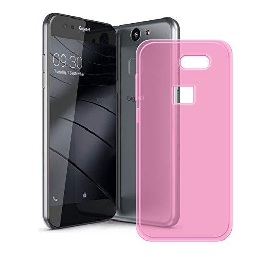DQG Anti-Fall Schutzhülle für Gigaset ME Pure Hülle, Weiche Flexibel Handytasche Semi-Transparent Pink TPU Handyhülle Silikon Tasche Schale Case Cover für Gigaset ME Pure (5.0