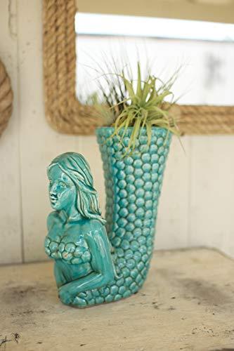 Kalalou Ceramic Mermaid Vase, One Size, Blue