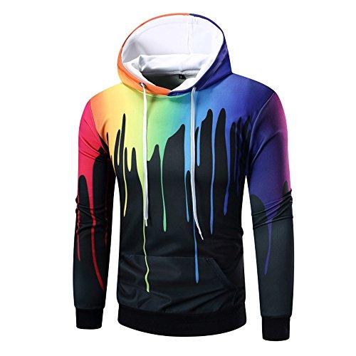ESAILQ Herren Lange Ärmel Digitalerdruck Hoodie Mit Kapuze Sweatshirt Tops Coat Outwear(Large,Schwarz)