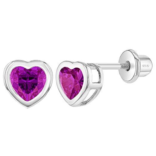In Season Jewelry Plata Fina 925 Pendientes de Corazón con Cierre de Rosca con Bisel Rosa Fucsia de 6mm para Niñas, Niñas Pequeñas y preadolescentes