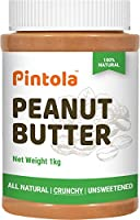 Pintola All Natural Peanut Butter (Crunchy) (1kg) | Unsweetened | 30g Protein | Non GMO | Gluten Free | Vegan |...
