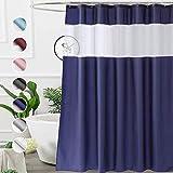 UFRIDAY Extra langer Duschvorhang, 183 x 213 cm, marineblauer Stoff, Duschvorhang für Badezimmer mit Fenster
