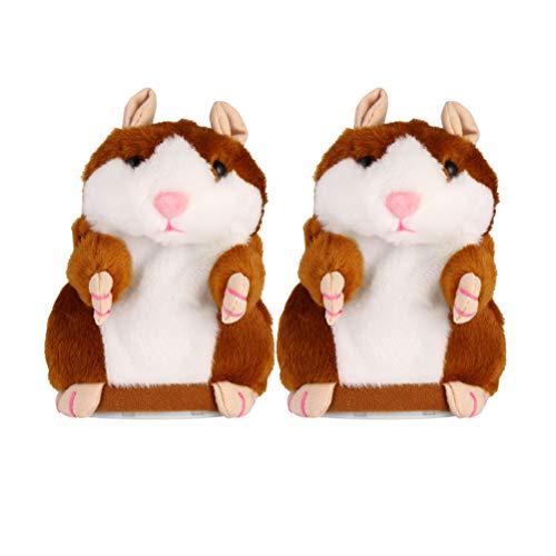 NUOBESTY Juguete de Hamster parlante electrónico 2 Piezas Repita lo Que Dice Juguete de Peluche Divertido para niños sin batería (Marrón Claro)