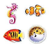 hersrfv home Under The Sea Fish Cutouts Mermaid Luau Marine Life Party Birthday Decoration