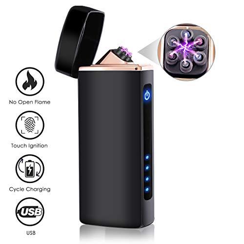 NASUM Mechero Electrico, Encendedor Electrico de Doble Arco sin Llama - Mechero Recargable y Resistente al Viento (Acampada) con Cable USB, Mechero de Plasma sin Gas Negro