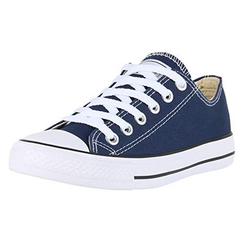 SCARPE VITA Damen Sneakers Freizeit Schuhe Stoffschuhe Sportschuhe 172822 Dunkelblau Weiss 38
