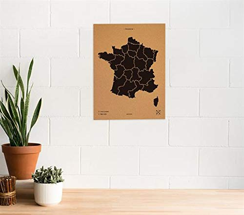 Miss Wood Carte de France Imprimée avec Sérigraphie sur Liège Naturel, Noir, L (45 x 60 cm)