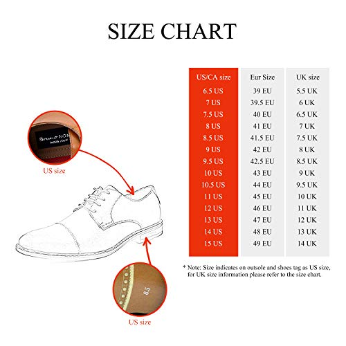 Bruno HOMME MODA ITALY PRINCE Men's Classic Modern Oxford Wingtip Lace Dress Shoes,PRINCE-3-BROWN,10 D(M) US