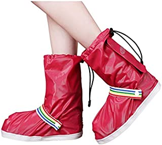 Silicone Rain Boots, Student Rain Boots, Non-Slip Thick Wear-Resistant High-Heeled Rain Boots JCCOZ (Color : Red, Size : M)