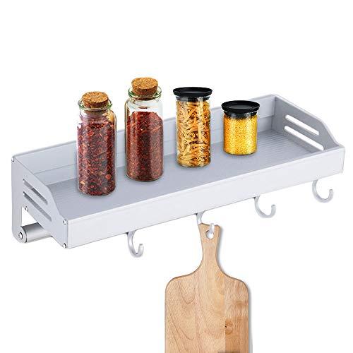 Elinala Portaspezie da Appendere, Barra Portautensili Cucina, Organizer da Parete per Uso Domestico in Lega di Alluminio con Gancio e Portasciugamani per Cucina e Bagno (Argento)