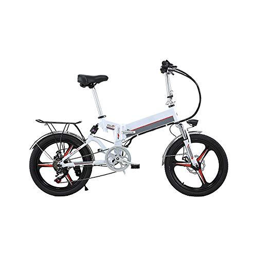 350W/48V Bicicleta eléctrica Plegable, Material de Acero al Carbono Montaña Nieve E-Bike Ciclismo de Carretera, Neumático Gordo de 20 Pulgadas 25KM/H,Blanco
