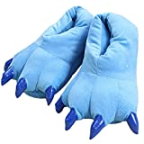 Unisex Paw Shoes Plush Dinosaur Claw Slippers Winter Warm Home Fuzzy Monster Slippers Halloween Fluffy Animal Costume (M, blue)