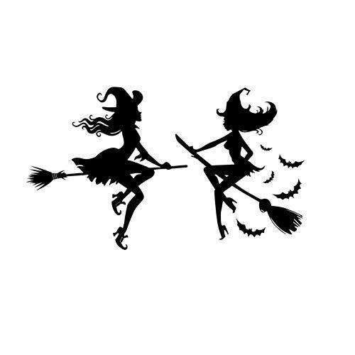 DCTTTN Geschnitzte hohle Halloween Hexe Fledermaus Hexenbesen Aufkleber Selbstklebende abnehmbare Fenster Glastür Wandaufkleber (57x58cm)