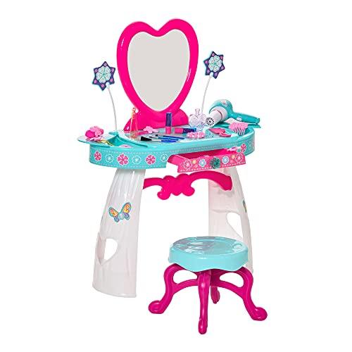 homcom Toeletta Tavolo Trucco con Sgabello per Bambini da 3 Anni, Specchio Integrato e Accessori, Azzurro e Bianco