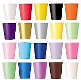 50 x Becher (lila, schwarz, gelb, rosa, rot) Einwegbecher für Kaltgetränke und Heißgetränke aus Pappe umweltfreundlich, Hochzeit, Geburtstag, Kaffeebecher, Picknick, Garten, Party, Grillen