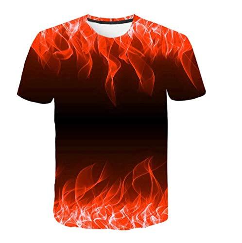 T-shirts T-shirt unisex rode flame pullover T-shirt klassieke versie Gradient Youth Top