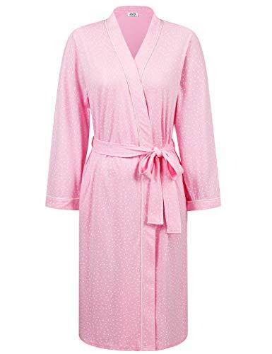 Amorbella Damen Bademantel aus Baumwolle, lang, bedruckt, mit Taschen Gr. XX-Large, pink mit punkten