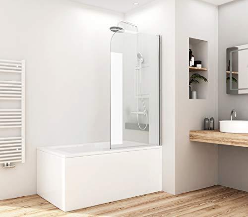 Meykoers Duschabtrennung 70x140cm Duschwand für Badewanne, Duschwand Badewannenaufsatz mit 5mm Nano Easy Clean Glas (90°Single Faltbar)