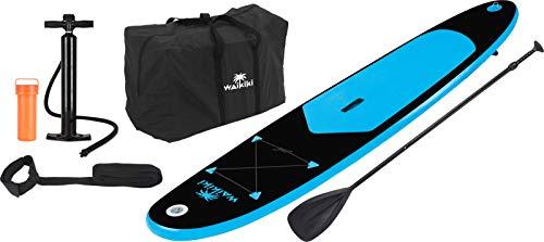 Waikiki Paddelboard Stand-Up-Board Surfbrett Surfboard aufblasbar Paddel Blau Schwarz 8300
