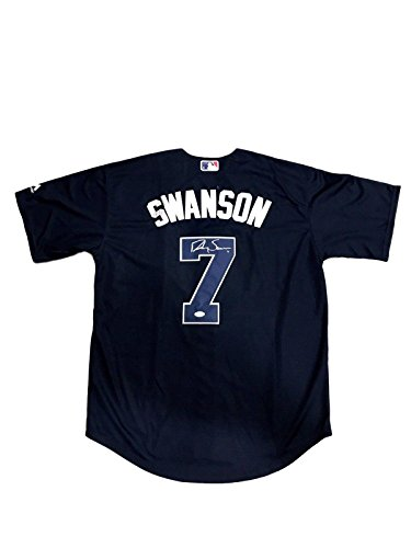Dansby Swanson Atlanta Braves (Navy Alternate) Signed Jersey JSA - Autographed MLB Jerseys