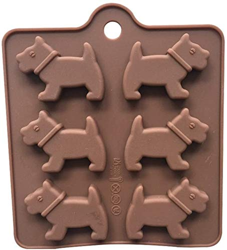 LQXZJ-Molde para hornear 2 Perro de silicona PCS chocolate en forma de herramienta for hornear moldes de la galleta del cubo de hielo bandeja for hornear Pan Cocina la pasta de azúcar 14,3 x 12,8 x 0,