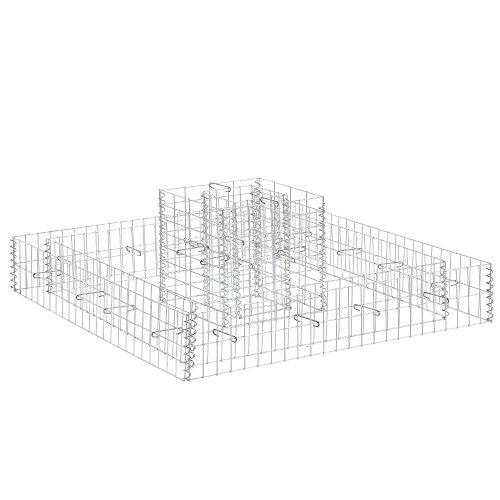 [pro.tec]® Gabion en kit de 2 parterre haut / parterre panier en treilis métallique