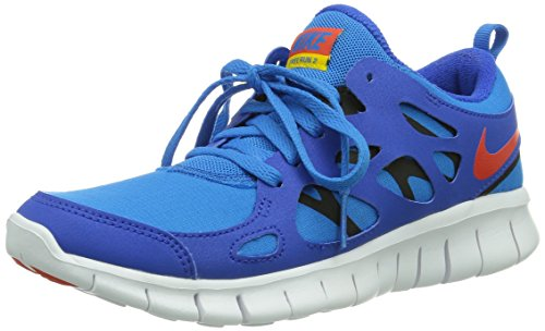 Nike Free Run 2 (Gs), 443742-404, Unisex - Kinder Laufschuhe Training, Blau (Hyper Cobalt/Tm Orange-Photo Blue-Black), 37.5