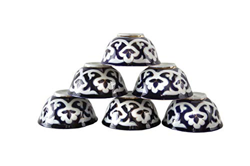 Set of 6 Uzbek Floral Tea Cups 7-Ounce Dark Blue And White Uzbekistan Ceramic Traditional Products NOT FAKE - FREE Uzbek Cookbooks Included