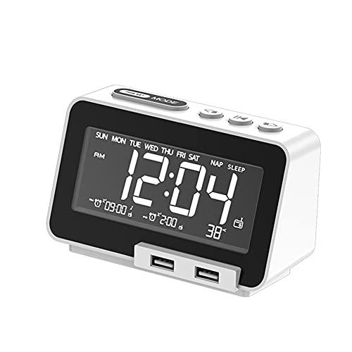 Kaxofang Reloj Despertador con Pantalla LED con Radio FM Altavoz InaláMbrico y 2 Puertos de Cargador USB para Oficina Casa Blanco Enchufe Europeo