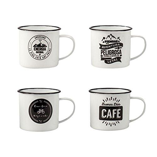Juego de 4 Tazas Mug vintage esmaltadas para café/té/infusiones.