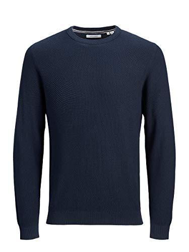 Jack & Jones Jjeaaron Knit Crew Neck Noos Sweater, Blazer Bleu Marine, S Homme