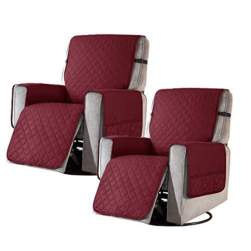 2 Stück Sesselschoner Sesselüberwürfe Relaxsessel Fernsehsessel Sesselauflage Anti-Rutsch Wasserdicht 1 Sitzer Rot Sofa überzug Schutzbezug mit Taschen and Feste Elastische Träger