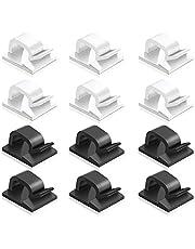 60 stuks zelfklevende kabelklemmen, FineGood kunststof kabelsnoer Organziers kabel opslag management clip voor thuiskantoor - zwart, wit