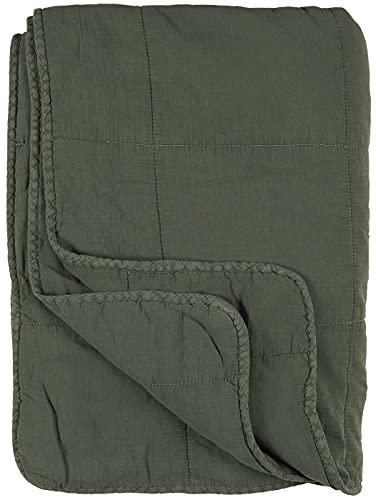 Ib Laursen - Tagesdecke, Quilt - Baumwolle - dusty petrol / olivgrün - 180 x 130 cm