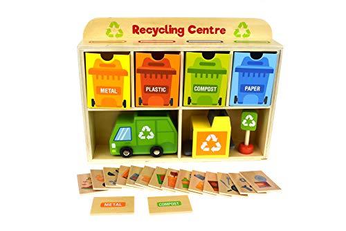 Tooky Toy Jeux en bois - Centre de recyclage en bois pour enfants, Multicolore