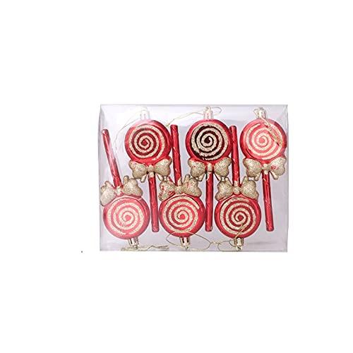 PJRYC Grande Decorazioni di Natale Rosso e Bianco Candy Lollipop Bastoncino Combinazione Decorazione Domestica della Decorazione del Partito (Color : Combination D, Dimensione : 6 Pieces)