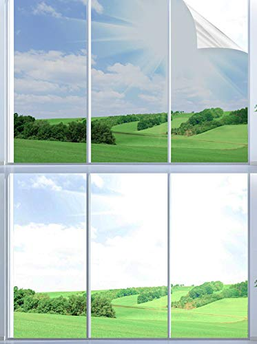 BeIM Spiegelfolie Selbstklebend Sichtschutz Wärmeisolierung Sonnenschutzfolie UV-Schutz Fensterfolie Silber (90 x 400 cm)