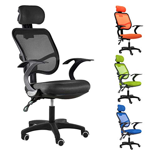 Ergonomic Adjustable Office Chair with Lumbar Support and Rollerblade Wheels - High Back with Breathable Mesh