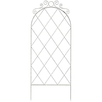 Panacea 83790 60 French Country Distressed White Scroll Trellis