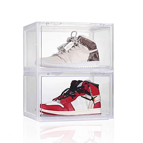 X SIM FITNESSX, scatola per scarpe in plastica, con porta trasparente HD, impilabile, 36 x 28 x 22 cm, per scarpe fino al numero 46, diversi colori