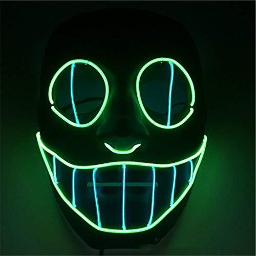 XUEE Halloween EL Koudlichtmasker, LED lichtlijn smiley masker gezichtsmasker voor Halloween kostuum Cosplay