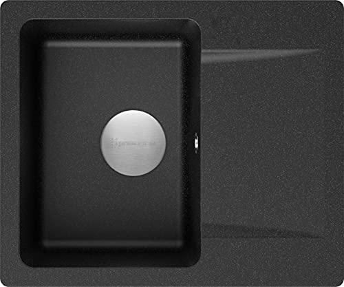 Spülbecken Graphit 60 x 50 cm, Granitspüle + Siphon Premium, Küchenspüle ab 45er Unterschrank, Einbauspüle von Primagran