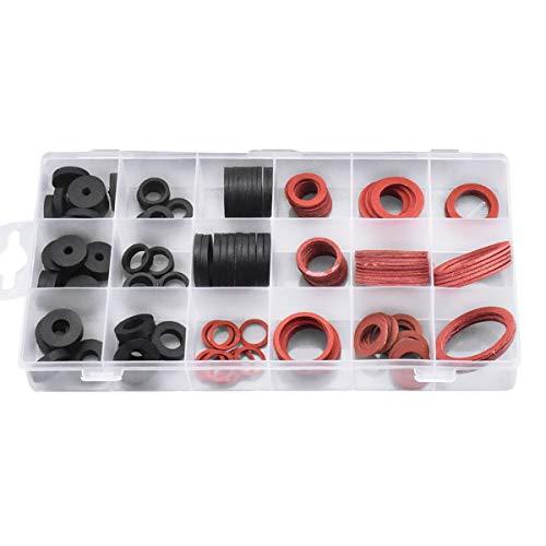 Jinlaili 141Stk Unterlegscheiben Gummi,18 Größen Dichtungsringe Gummi, Dichtring Sortiment, Dichtung O-Ring Flach für Wasserhahn, Dichtringe für Schlauch, Rohrleitungen und Wasserhähne