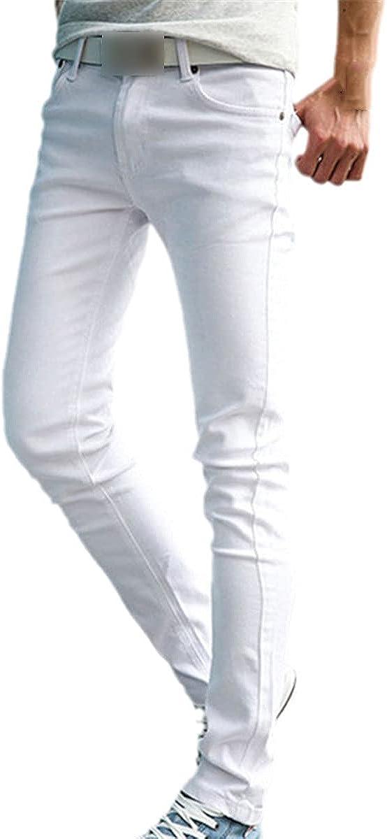 CACLSL Fashion Slim Men's White Jeans Men's Trousers Casual Pants Tight Pencil Pants Hip-hop Breeches