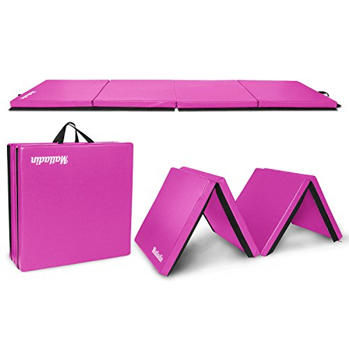 Matladin 8' Folding Gymnastics Gym Exercise Aerobics Mat, 8ft x 2ft x 2in PU Leather Tumbling Mats for Stretching Yoga Cheerleading Martial Arts (Purple)