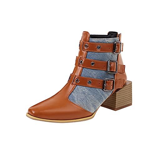 Stivaletti da donna grosso blocco medio impilati tacco a punta stivaletti moda colore contrasto fibbia stivali punta chiusa punta alta comfort scarpe botas para mujer, Azzurro, 36 EU