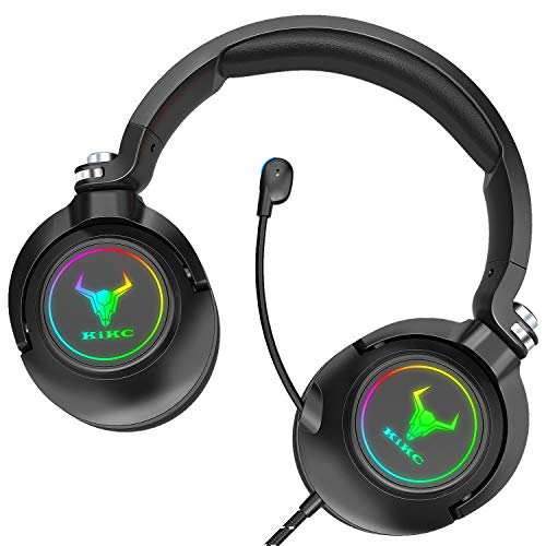 Kikc ET600 Gaming Headset for Xbox One Headset, PS4 Headset for PS5, PSP, PC, Video Game, Laptop, Mac. (Rotating Ear Shell, Storage Swivel Microphone) Black