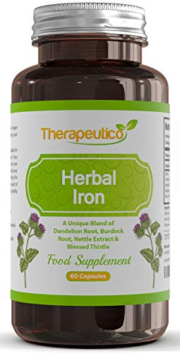 Herbal Iron | Iron Capsules Made from Herbs | 60 Vegan Capsules | Non-GMO | No Preservatives or Fillers |