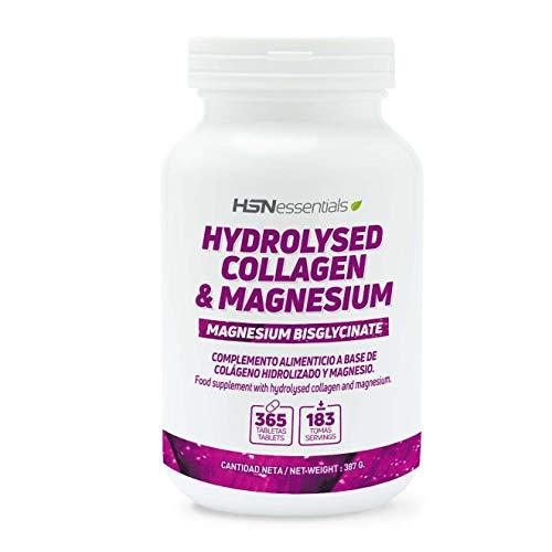 Colageno Hidrolizado con Magnesio de HSN | Articulaciones Sanas + Cabello y Uñas Fuertes + Piel Tensa y Joven | Sin Gluten, Sin Lactosa, Sin OMG, 365 Comprimidos