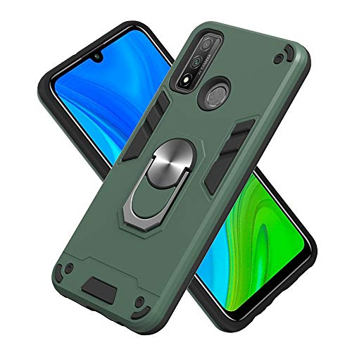 FAWUMAN Armure Coque Huawei P Smart 2020, Boîtier PC + TPU Double Layer Housse résistant aux Chocs avec Support à Anneau Rotatif à 360 degrés (Vert foncé)